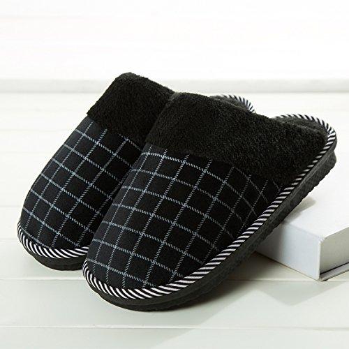 Habuji autunno e inverno il cotone pantofole per uomini e donne calde interne scivoloso home spesse pantofole con suole di pavimento in legno con la metà di un sacchetto, 42-43, nero