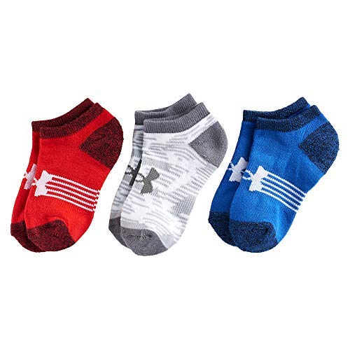 (Under Armour Kids' UA Next Statement No Show Socks 3-Pack (Youth Small (Youth Shoe Size 13.5K - 4Y), Red(1298809-400)/Blue/Grey))