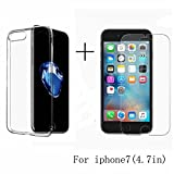 Bong Buy iPhone7 iPhone7 Plus Steel Film Transparent Protective Sleeve Suit-Contain 9H Hardness Tempered Glass Film And TPU Case (iPhone7)