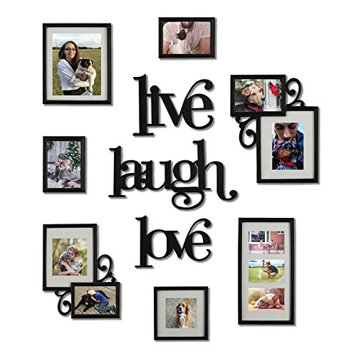 Hello Laura - Photo Frame | Live Laugh Love | Black Picture Frame Set Art Decor Gallery Collection Display Free Adjustable Style Hanging Stand Easel - Birthday Christmas Holiday Grandparents Gift