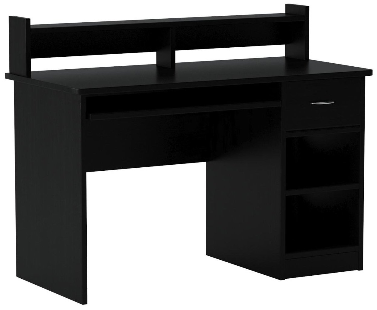 OneSpace Essential Computer Desk, Hutch with Pull-Out Keyboard, Black by OneSpace