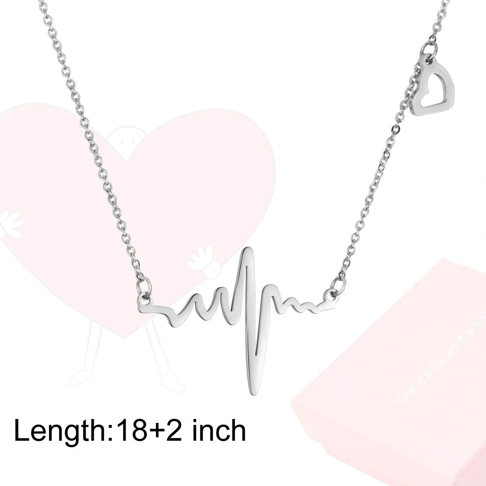 WDSHOW Heartbeat EKG Necklace 18k Rose Gold Plated or Silver-Tone TPL160372