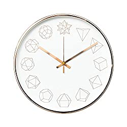 "Arospa Luxury Modern 12"" Silent Non-Ticking Wall Clock with Rose Gold Frame (Geometric White)"