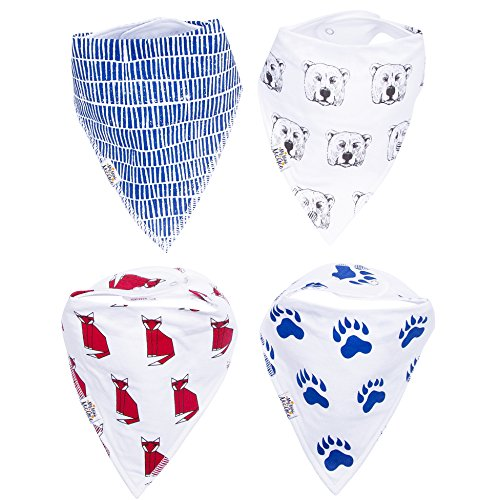 My Mini McGee Baby Bandana Bibs with Snaps, 4 Pack, Baby bibs for Boys, Infants and Toddlers, Baby Gift, Foxy Bear Collection
