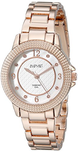August Steiner Women's AS8154RG Rose Gold-Tone Watch with Diamond Markers