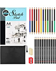 BROTOU 28 Packs Sketching Pencils Set, Drawing Art Kit with Sketchbook Draw Pencils Dual Ended Color Pencil Eraser Sharpener Pencil Bag for Kids Adults and Art Beginners