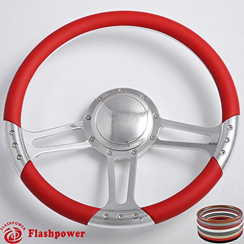 Flashpower 14'' Billet Trinity Half Wrap Steering Wheel with 9 Bolts 2'' Dish and Horn Button (Red) - Half Wrap