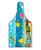 Ambesonne Kids Cutting Board, Funny Sea Animals Underwater Ocean View with Sail Boat Palm Trees Cartoon Artwork, Decorative Tempered Glass Cutting and Serving Board, Wine Bottle Shape, Multicolor