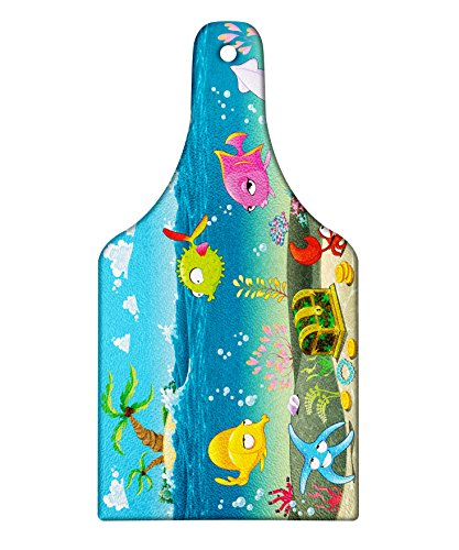 Ambesonne Kids Cutting Board, Funny Sea Animals Underwater Ocean View with Sail Boat Palm Trees Cartoon Artwork, Decorative Tempered Glass Cutting and Serving Board, Wine Bottle Shape, Multicolor by Ambesonne