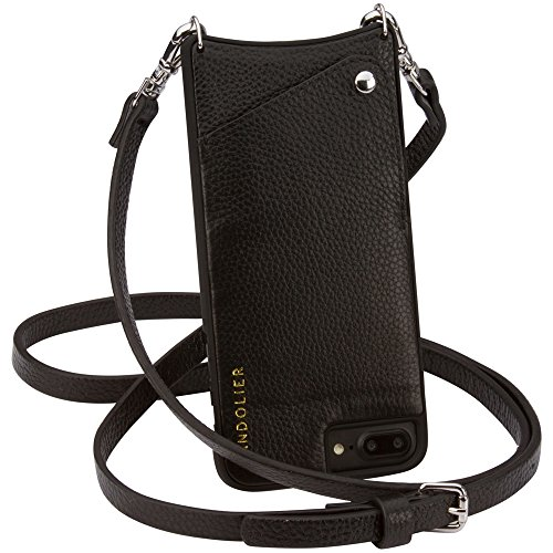 Case for iPhone 8 Plus, 7 Plus & 6 Plus - Black Luxe Pebble Leather Wallet with SILVER Detail Cross-body Easy Adjust Strap for ID & Credit Cards. Phone Purse to Carry Handsfree. Emma by Bandolier by Bandolier