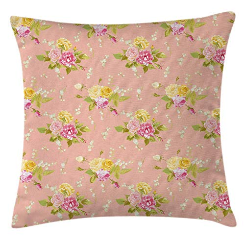 - Kaputar Shabby Chic Decor Throw Pillow Cushion Cover, Colorful Vintage Roses Corsage Diagonal Pattern Bridal Theme, 20 X 20 Inches, Multicolor | Model WDDNG -1253 | 20