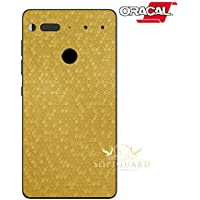 SopiGuard Essential Phone PH1 Carbon Fiber Rear Panel Precision Edge-to-Edge Coverage Easy-to-Apply Vinyl Skins (Honeycomb Gold)