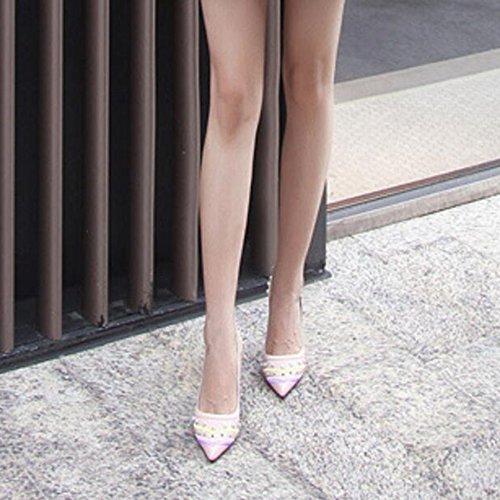 Scarpe Punta Con A Donne Tonda Romane Pink Tacco Cy Metallo Per Décolleté Club Classiche Alto In qItnYz