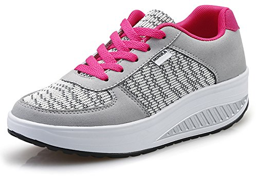 Ausom Womens Breathable Casual Swing Shoes Platform Wedges Toning Shoes Walking Fitness Outdoor Sneaker Grey IjggFhZ