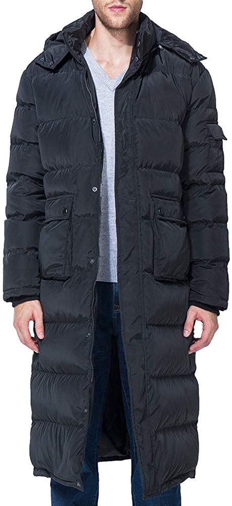 WENFI Fashion Warm Men's Packaged Down Puffer Jacket with Hooded Compressible Long Coat Black by WENFI