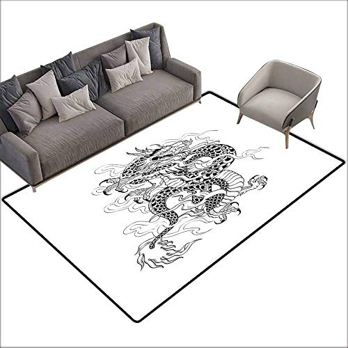 - Print Floor Mats Bedroom Carpet Japanese Dragon,Sketch Artwork Style Ancient Mighty Figure with Claws Fire Monster Tattoo,Black White 64