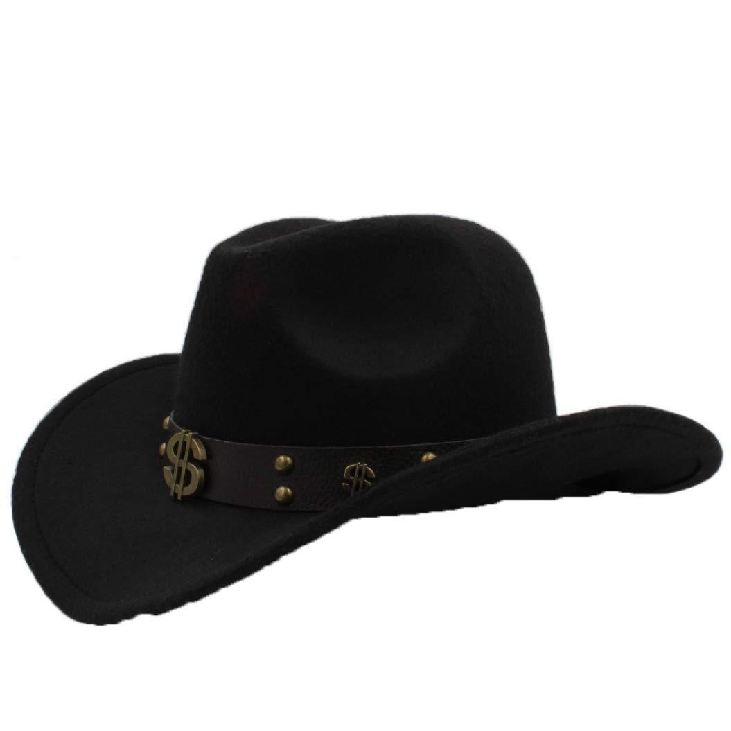 96e43a4fcf357 Black ASO-SLING Faux Felt Wide Brim Western Cowboy Hat Hat Hat Wool Outback  Cattlemen Hat with Leather Belt 3f8edb