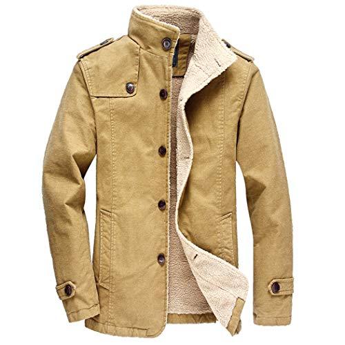 Windblock Jacket - Modern Fantasy Men's Stylish Winter Sherpa Jacket Fleece Thicken Lined Windproof Warm Coat Khaki