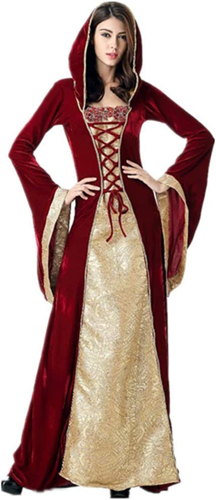 Queta Disfraz Court de Reina para Halloween Cos, Vestido Largo ...