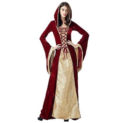 Queta Disfraz Court de Reina para Halloween Cos, Vestido Largo Medieval Retro, Disfraz de