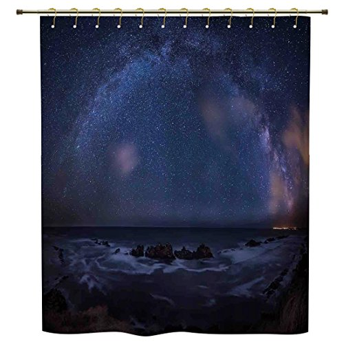 iPrint Shower Curtain,Space,Massive Milky Way over the Sea Appears to Be a Dark Matter Halo Spread Out in Solar Center,Blue,Polyester Shower Curtains Bathroom Decor Sets with Hooks by iPrint