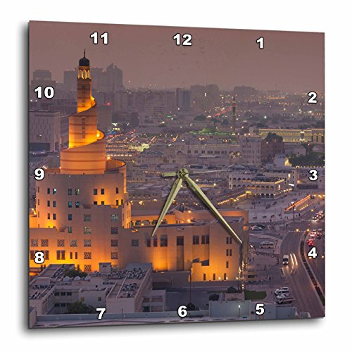 3dRose Doha, Fanar, Qatar Islamic Cultural Center, Elevated View, Dusk Wall Clock, 15'' x 15'' by 3dRose