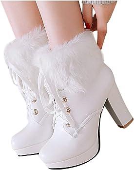 Botas de Lana para Mujer Botas de algodón con Cordones Botas de ...