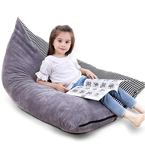 - Large Stuffed Animal Storage Bean Bag Chair, Beanbag Cover Stuffed Lounge Chair Sofa for Kids and Adults, Premium Crystal Velvet Extra Soft and Comfortable
