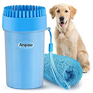 Bougainvillea Portable Dog Paw Cleaner, Anipaw Dog Paw Washer Cup with Towel Dog Cleaning Brush for Dogs/Cats, Silicone Pet Feet Cleaner for Muddy Paws