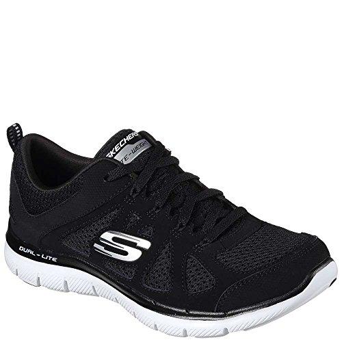 Skechers Womens Flex Appeal 2.0 - Simplistic Sneaker, Black/White, Size 7