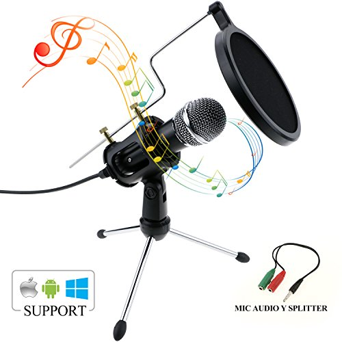 Philonext Condenser Microphone, Portable Mini Condenser Microphone, 3.5mm Plug & Play Home Studio Vocal Recording Microphone with Tripod Stand for PC Laptop Tablet and Phone (Style (Portable Recording Studios)