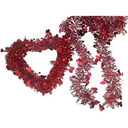 Valentine's Day Tinsel Heart Decoration and 2 Tinsel Garlands 9 Ft (Bundle of 3 Items)