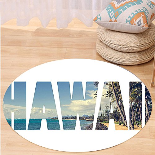 VROSELV Custom carpetHawaiian Decorations Word Hawaii With Tropical Island Photo Exotic Popular Places Palm Forest By Ocean Bedroom Living Room Dorm Decor Blue Green Round 72 inches by VROSELV