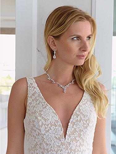 Mariell Luxurious Cubic Zirconia Vine Motif Wedding Necklace Earrings Set Brides Pageant, Statement Jewelry by Mariell (Image #3)