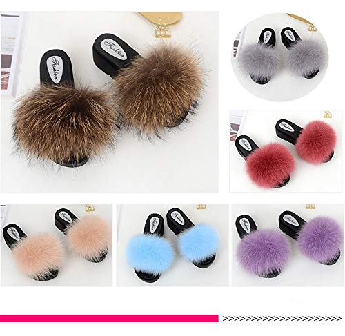 Open Purple Qmfur Slippers Outdoor Shoes Fox Indoor High Girls Slides Women Toe Heeled Fur Soft Real n4wqAxFa48