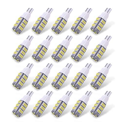 YITAMOTOR 921 RV Interior LED Light Bulbs, T10 912 194 LED Camper Light Replacement Bulbs for RV Car Dome Map Door License Plate Trailer Backup Reverse Lights, White 42-SMD Super Bright, 20-Pack