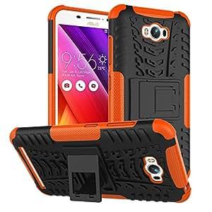 "Asus Zenfone Max ZC550KL Case, SsHhUu Tough Heavy Duty Shock Proof Defender Cover Dual Layer Armor Combo Protective Hard Case Cover for Asus Zenfone Max ZC550KL (5.5"") Orange"