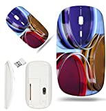 Luxlady Wireless Mouse White Base Travel 2.4G Wireless Mice with USB Receiver, 1000 DPI for notebook, pc, laptop, macdesign IMAGE ID: 22222362 color liquid in petri dishes on blue background