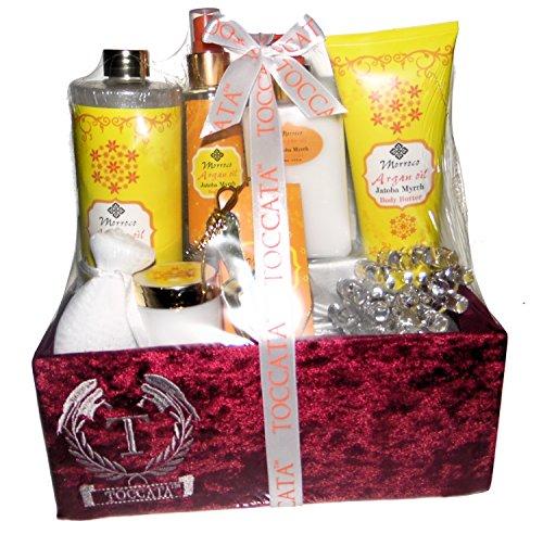 Toccata Jatoba Myrrh Premium Bath Spa Gift Set. Hand Cream, Body Essence, Shimmering Bath, Bath Salt, Body Souffle, Body Butter, Facial Sponge, Plastic Massager in a Fabric Gift Basket