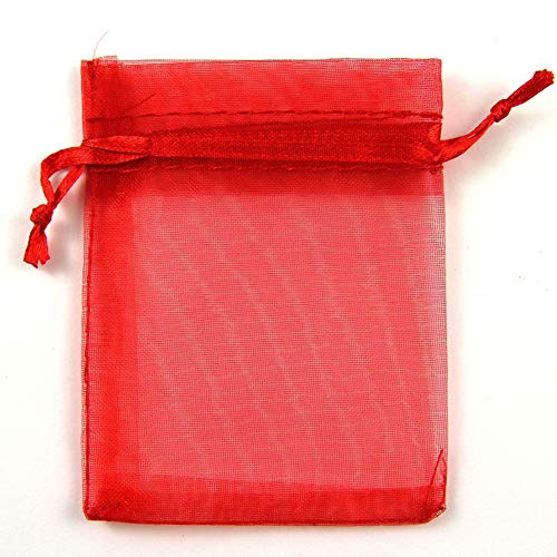 Wecando Organza Gift Bags 3.54x4.7in Double Drawstring Pouch Bags Gift Bags for Wedding Favor Bags Jewelry DIY Craft (White Organza,100 Pcs) (Red, ()