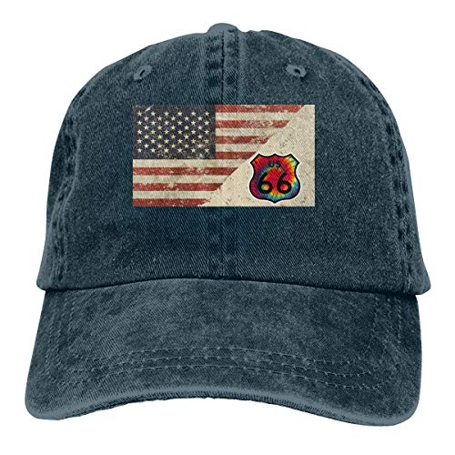 Tie-Dyed Route 66 Denim Hats Adjustable Baseball Cap Dad Hats