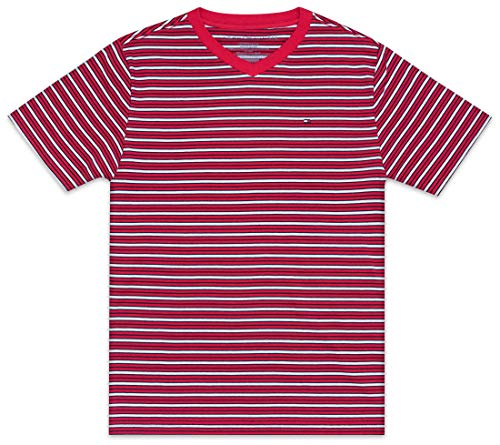 Tommy Hilfiger Big Boy's Stripe short sleeve tee shirt Shirt, chinese red, X-Large (20)