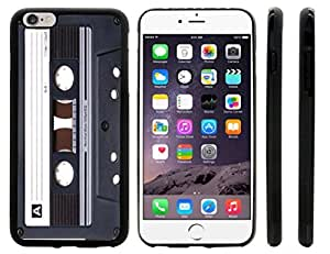 Rikki KnightTM Retro Cassette Tape Design iPhone 6 Plus Case Cover (Black Rubber with front bumper protection) for Apple iPhone 6 Plus