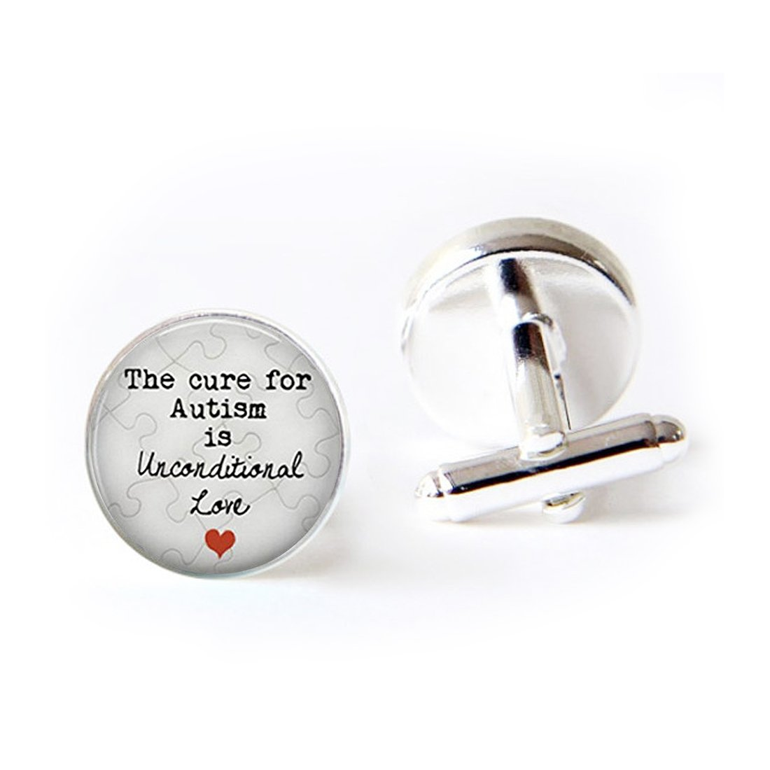 Unique Round Cufflinks Set The Cure for Autism is Unconditional Love Quote Glass Cuff Dress Shirt Links Wedding Business Anniversary Gift for Him