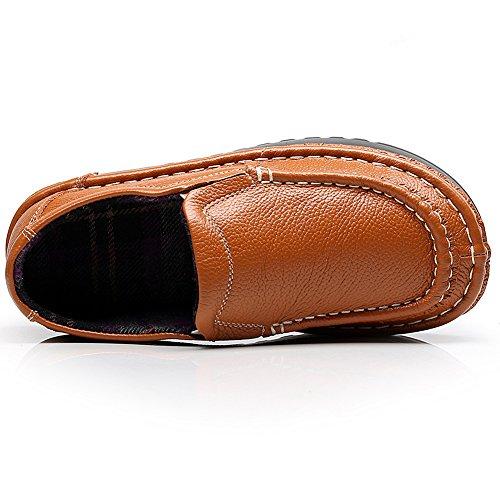 Shenn Mujer Plataforma Ponerse Comodidad Cuero Entrenadores Zapatillas Zapatos 2601 Broncear