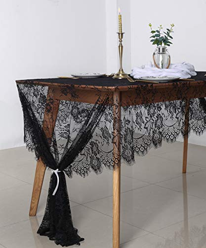 B-COOL Black Lace Tablecloth 60 x 120 Lace Tablecloth Oval Lace Tablecloth 60 x 120 Pack of 1 Halloween Lace Tablecloth Vintage Banquet Dining Table Decor -