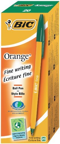 Green, Orange, Stick ballpoint pen, Fine, Plastic, Tungsten carbide BIC Orange Fine Stick ballpoint pen Fine Green 20pc - Ballpoint Pens s