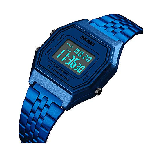 Men's Digital Sports Watch Outdoor Stainless Steel Band Electronic Waterproof Square LED Men's Wristwatch (Blue)