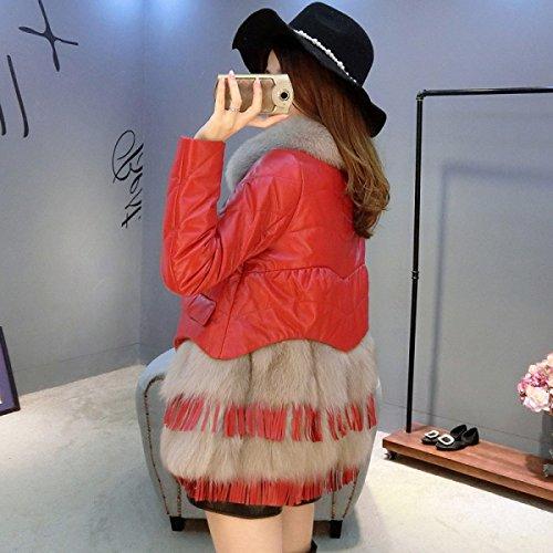 LQABW Lady Down Chaqueta De Cuero De Moda Cálida Capa Cómoda Red