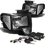 Ford F150 12th Gen Black Housing Clear Corner Headlights+4,300K HID+Slim Ballasts